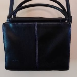 Esprit crossbody / handbag, black w/ purple thread